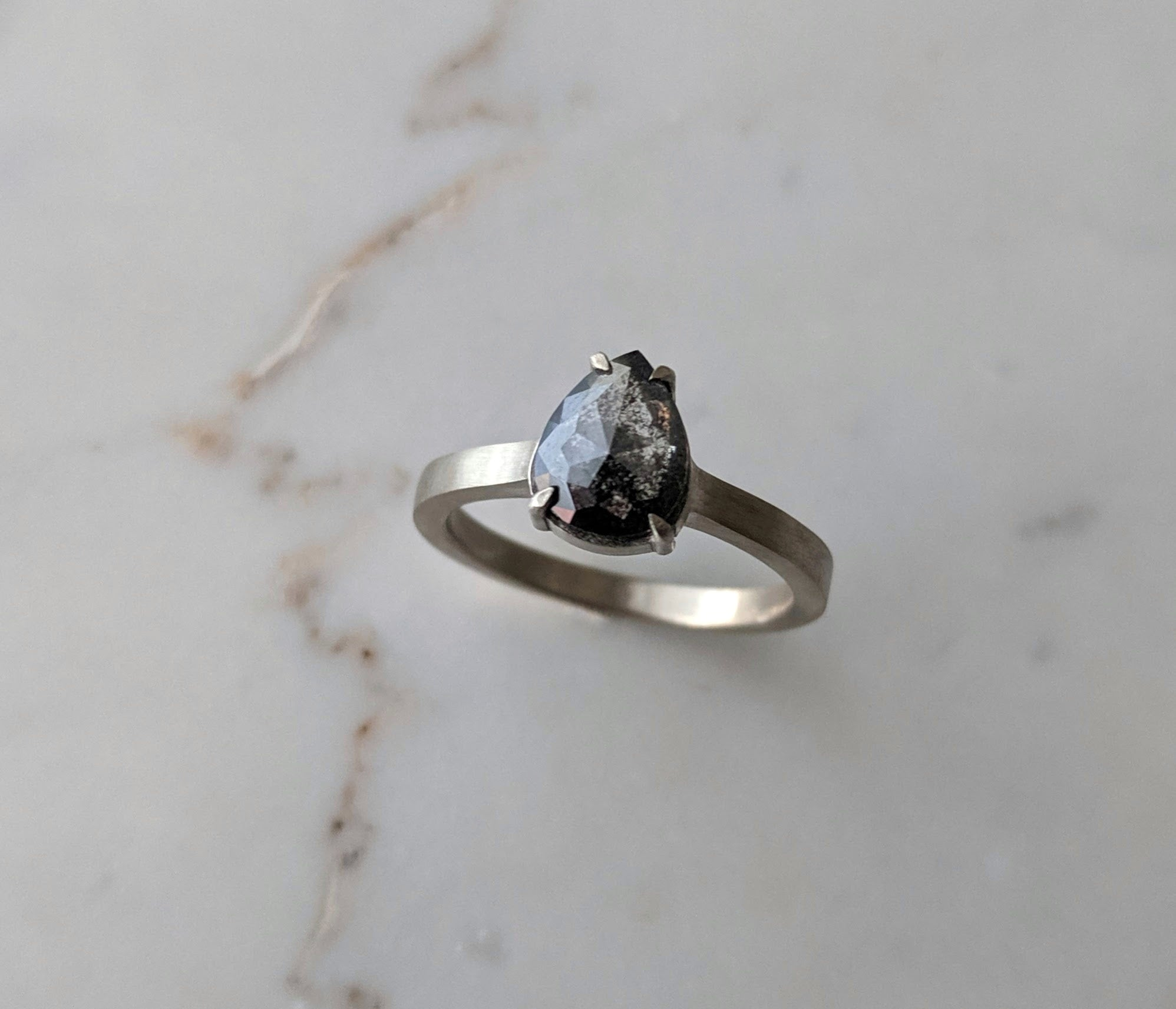 Grey Salt and Pepper 4 Prong Ring | 14K White Gold