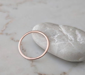 Thin 14K Half Round Band | Rose Gold