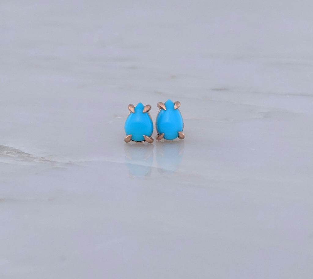 Turquoise Stud Earrings | 14K Rose Gold