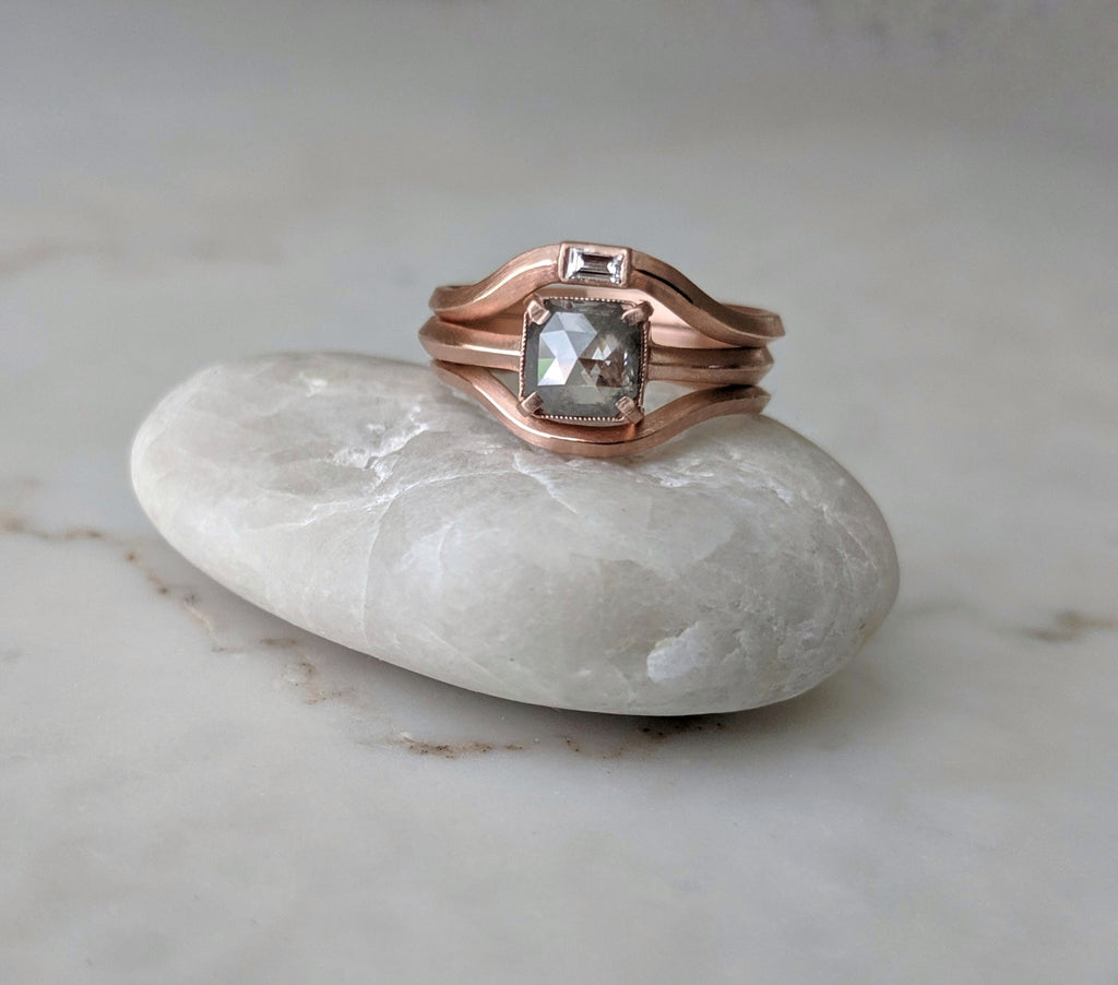 Grey Diamond Ring Set | Rose Gold