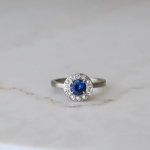 Blue Sapphire Halo Ring | 14K White Gold
