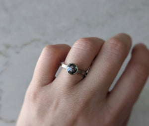 Salt and Pepper Round Rose Cut Diamond Ring | 14K White Gold