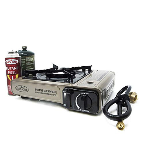 Portable Camping and Backpacking Gas Stove Burner with Carrying Case (Gold) - hobbyola