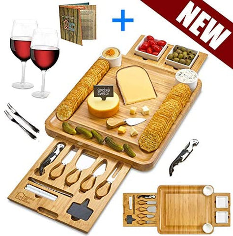 Cheese Board Set Gift for Birthdays Wedding Registry Housewarming Cheese Plates - hobbyola
