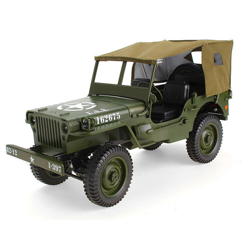 1/10 Scale Large RC Car Crawler Military Truck 4WD Off-Road 2.4G W/Canopy LED Light - hobbyola