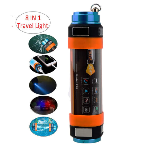 Mutifunction 8 in 1 USB LED Camping Lantern IP68 Waterproof Rechargeable - hobbyola