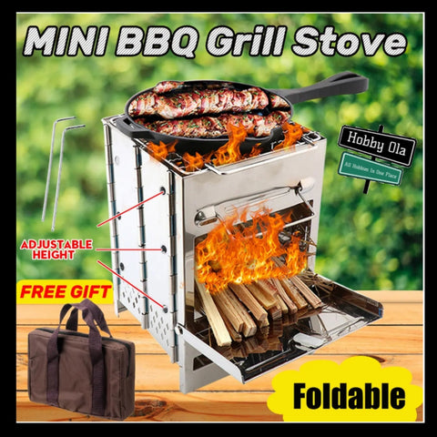 Buy Camping Picnic Wood Stove Set BBQ Grill Adjustable Stainless Steel - hobbyola