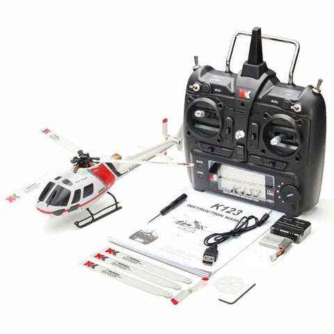 Outdoors RC Helicopter RTF XK K123 6CH Brushless AS350 3D6G System - hobbyola