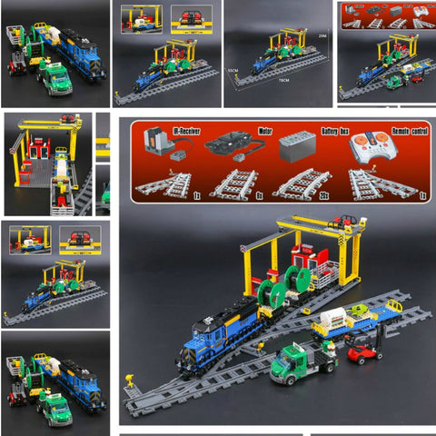Remote Control The Cargo Train Set With Tracks Building Block Toys - hobbyola