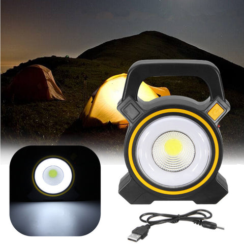 Outdoor Camping Flood Lamp Lantern 30W COB LED USB Solar Spot Light Work Light - hobbyola
