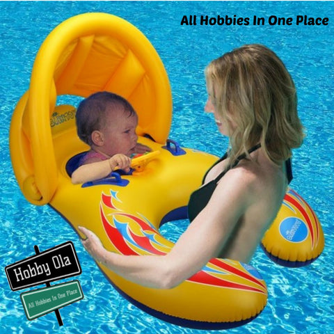 Mother Baby Swimming Pool Float Beach Toys Inflatable Children Safety Ring Seat Canopy - hobbyola