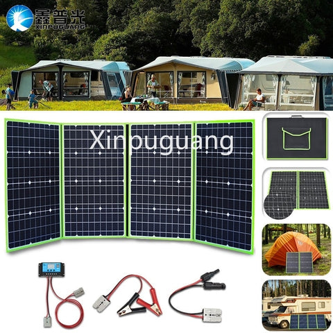 Outdoor Travel 200W Flexible Foldable Solar Panel  Panel Generator W/Charge Controller - hobbyola