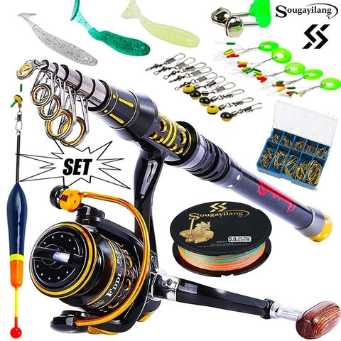 Professional Fishing Rod Full Kits Telescopic Fishing Sea Rod Spinning Reel Fishing Baits Hooks Set - hobbyola