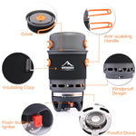 Outdoor Camping Stove Cookware Cooking Systerm Pot Pan Propane Gas Burner - hobbyola