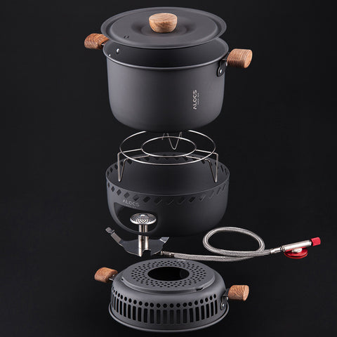 Outdoor Cookware Camping Cooking Gas Stove Burner with 2L Pot Camping Picnic BBQ - hobbyola