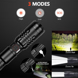 6500lumens Led Flashlight Ultra Bright USB Torch Zoomable For Camping Lamp - hobbyola