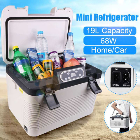 Portable 19L Double-Layer Refrigeration Mini Car Dual-Use DC12-24V/AC110V - hobbyola