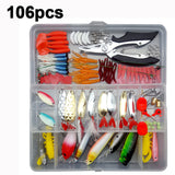 280Pcs Artificial Baits Fishing Lures Set Spoon Hooks Minnow Plier Hard Lure Kit - hobbyola