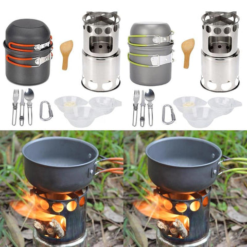 14Pcs/Set Camping Pan Wood Stove Hiking Cookware Cooking Picnic Bowl Pot Pan Set - hobbyola