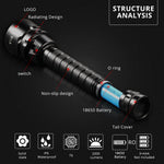 Sports Multi Putpose Scuba Diving Flashlight 30.000 Lumens 200M Underwater - hobbyola