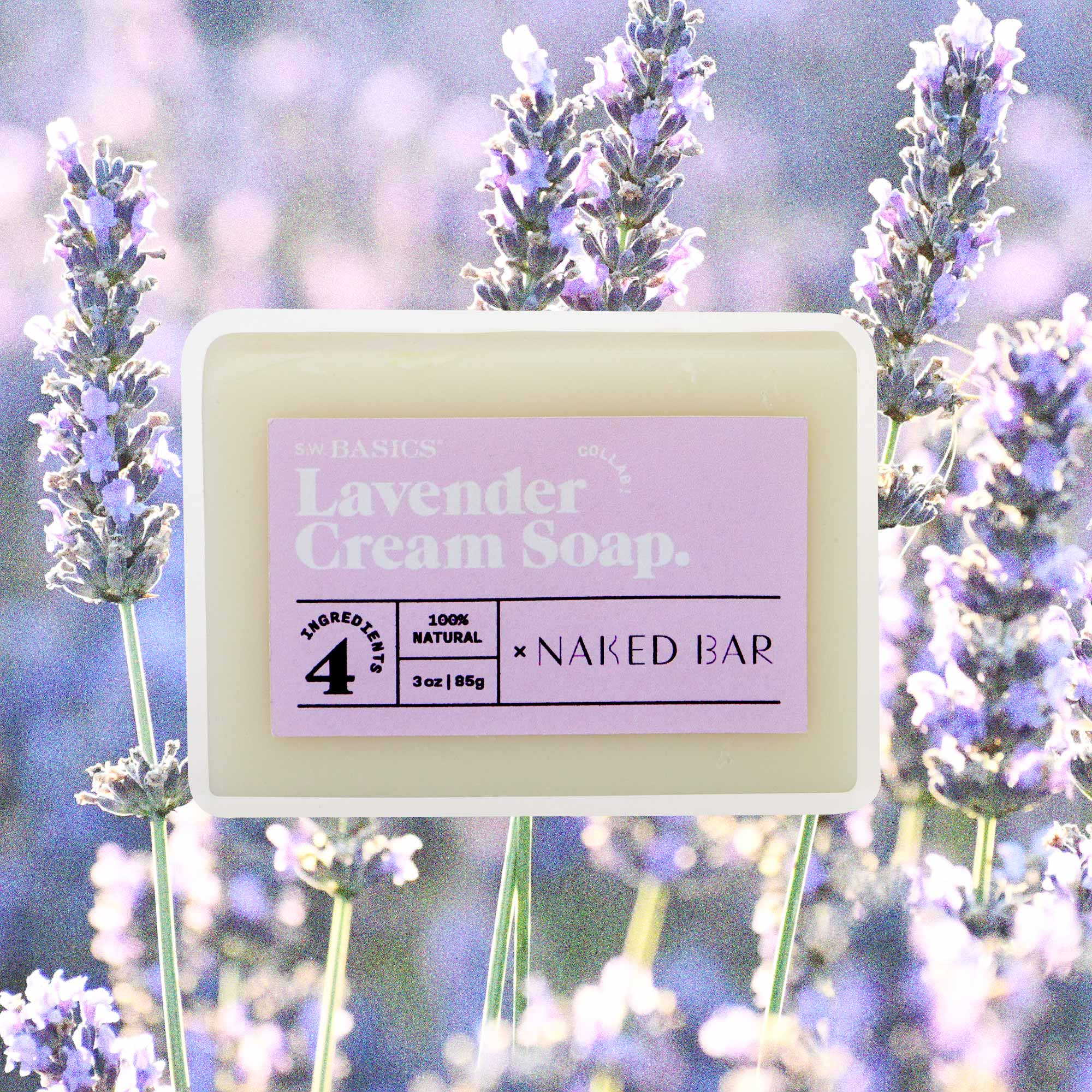 S.W. Basics x Naked Bar Soap Co. Lavender Cream Soap.