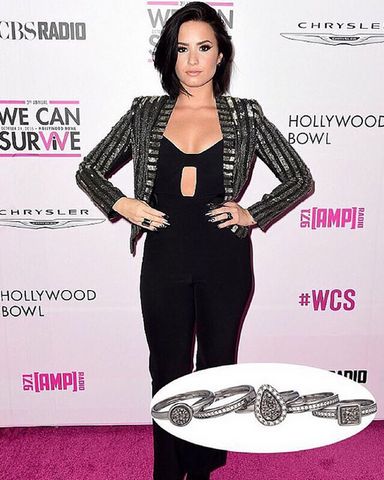 Demi Lovato wearing Marcia Moran Elements Stackable Ring Set