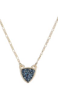 BORDEAUX TRIANGLE DRUZY CHARM NECKLACE