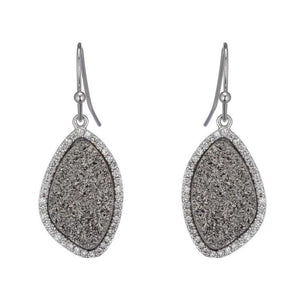 BB178e Marcia Moran Lilly Small Organic Shape Earrings Rhodium Titanium Druzy