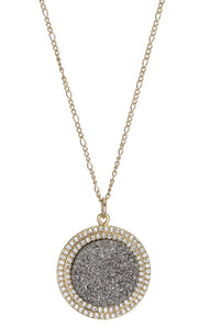 ECLIPSE DOUBLE PAVE BORDER ROUND PENDANT