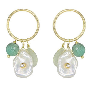 Liana Aquamarine and Pearl Earrings