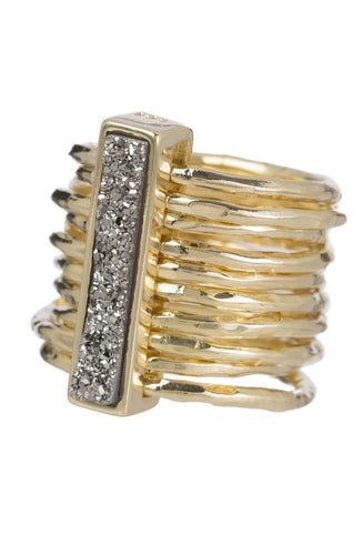 Marcia Moran multiband ring in gold and titanium druzy rectangular stone