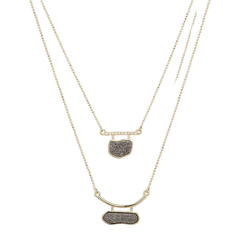 GCL156 Marcia Moran Doubled Up Druzy Necklace in Titanium