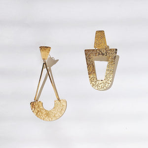 Caly Hammered Geometric Drop Earrings