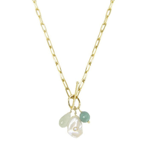 Idun T- bar Aquamarine Stone Necklace
