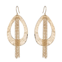 URSULA 18K GOLD PLATED HAMMERED DROP AND CHAIN EARRINGS