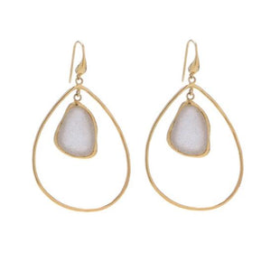 bb3011 Marcia Moran Flora Drop Earring in Natural White Druzy