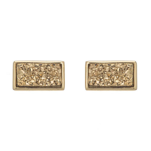 Marcia Moran Studs Earrings with shiny yellow druzy bars