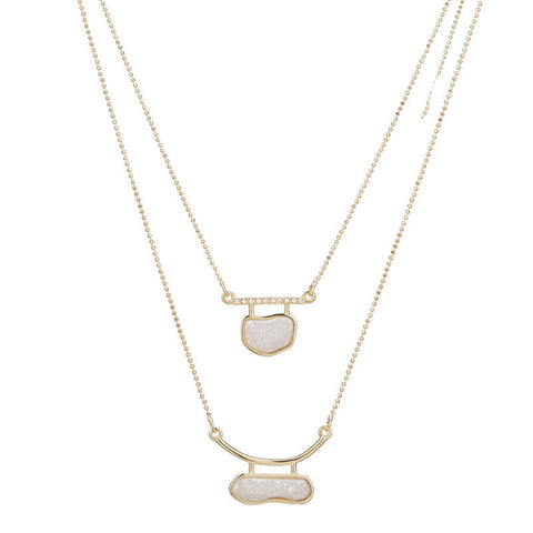 GCL156 Marcia Moran Doubled Up Druzy Necklace in White