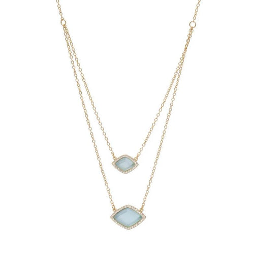SHAR DOUBLE DIAMOND SHAPE NECKLACE