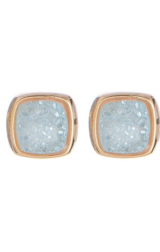 Antique Rounded Square Druzy Stud Earrings
