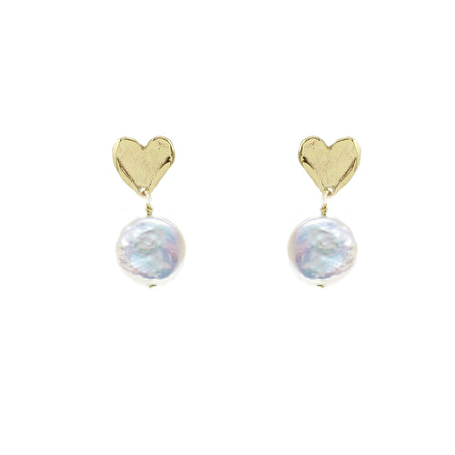 Amity Petite Heart Earrings with Pearl