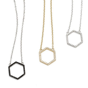 Rajan Hexagon Silver Necklace