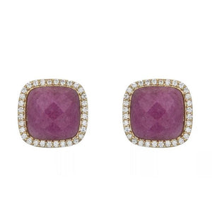 BB195e Affinity and Piper CZ Framed Classic Square Unique Stud Earrings by Marcia Moran in Fuschia Fuchsia Pink Burgundy Quartz with 18k Gold Brazilian Los Angeles Jewelry Semiprecious Gemstone
