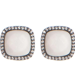 BB195e Affinity and Piper CZ Framed Classic Square Unique Stud Earrings by Marcia Moran in  Mother Of Pearl with Gunmetal Black and White Brazilian Los Angeles Jewelry Semiprecious Gemstone