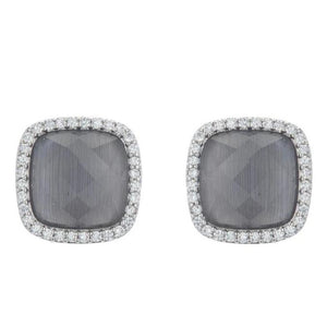 BB195e Affinity and Piper CZ Framed Classic Square Unique Stud Earrings by Marcia Moran in  Rhodium Silver Dark Cats Eye Grey Agate Silver Brazilian Los Angeles Jewelry Semiprecious Gemstone