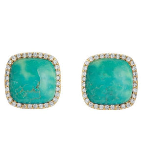 BB195e Affinity and Piper CZ Framed Classic Square Unique Stud Earrings by Marcia Moran in Turquoise with Rhodium Gunmetal Black Pewter Brazilian Los Angeles Jewelry Semiprecious Gemstone