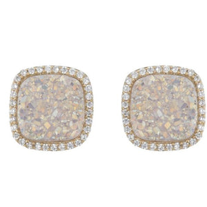 BB195e Affinity and Piper CZ Framed Classic Square Unique Stud Earrings by Marcia Moran in Natural White Druzy Iridescent Druzy Natural Druzy Core of The Agate Druzy Quartz with 18k Gold Brazilian Los Angeles Jewelry Semiprecious Gemstone