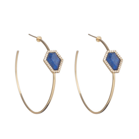 Marcia Moran 18k gold plated hoops with geometric shape stone in Lapis