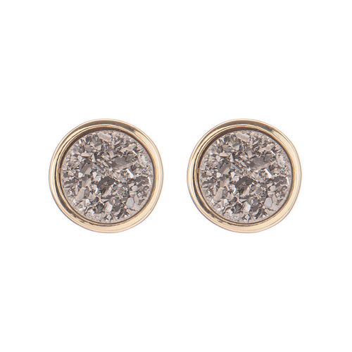 Binoli Classic Stud by Marcia Moran Small Circle Druzy Stud Earrings in Titanium Druzy