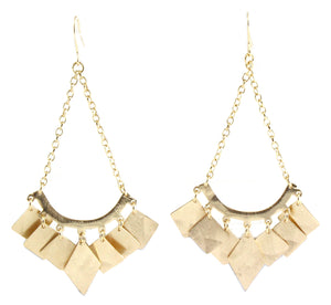 Lyss Drop Earrings with Geometric Fringe